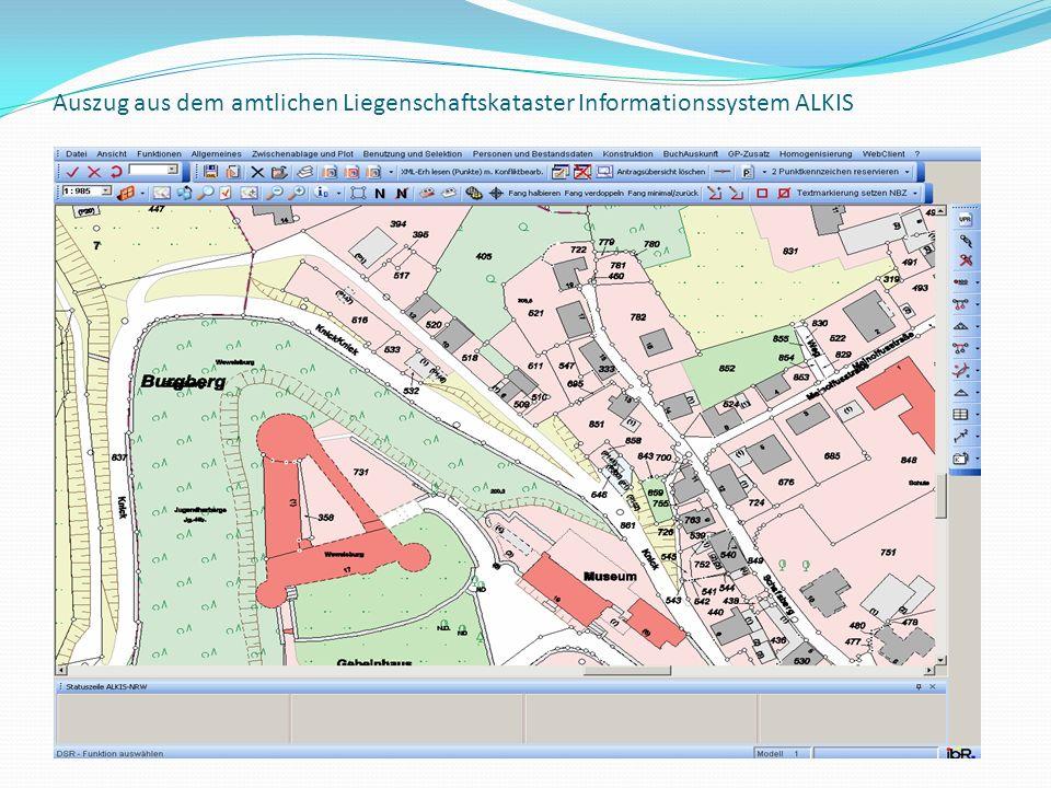Auszug aus dem amtlichen Liegenschaftskataster Informationssystem ALKIS