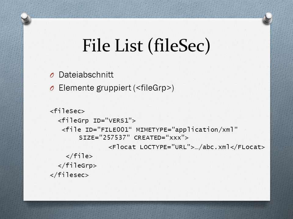 File List (fileSec) Dateiabschnitt
