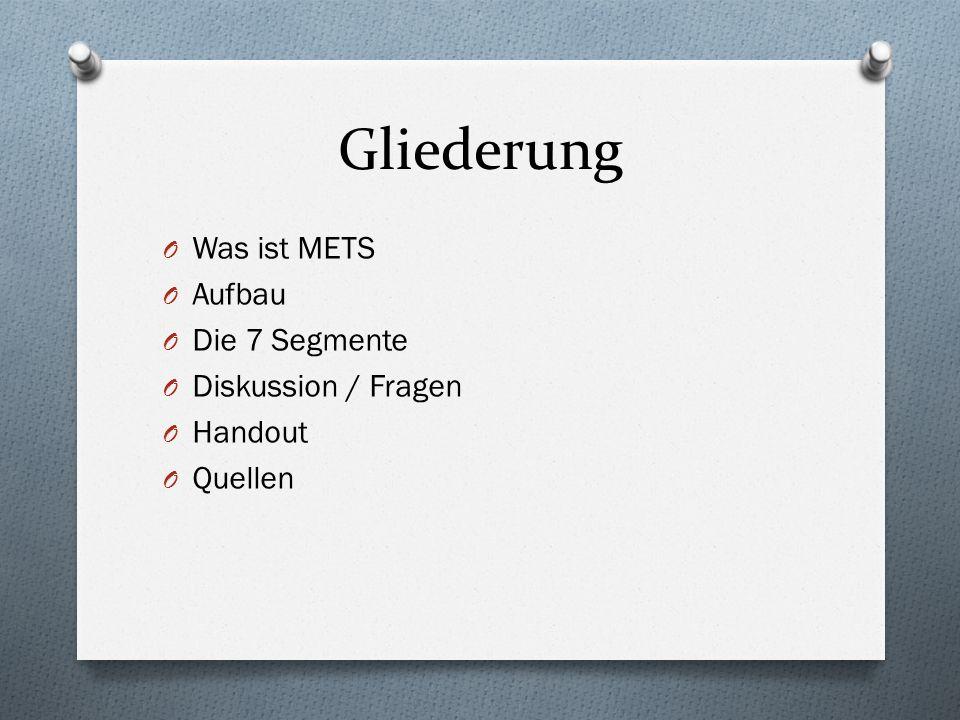 Gliederung Was ist METS Aufbau Die 7 Segmente Diskussion / Fragen