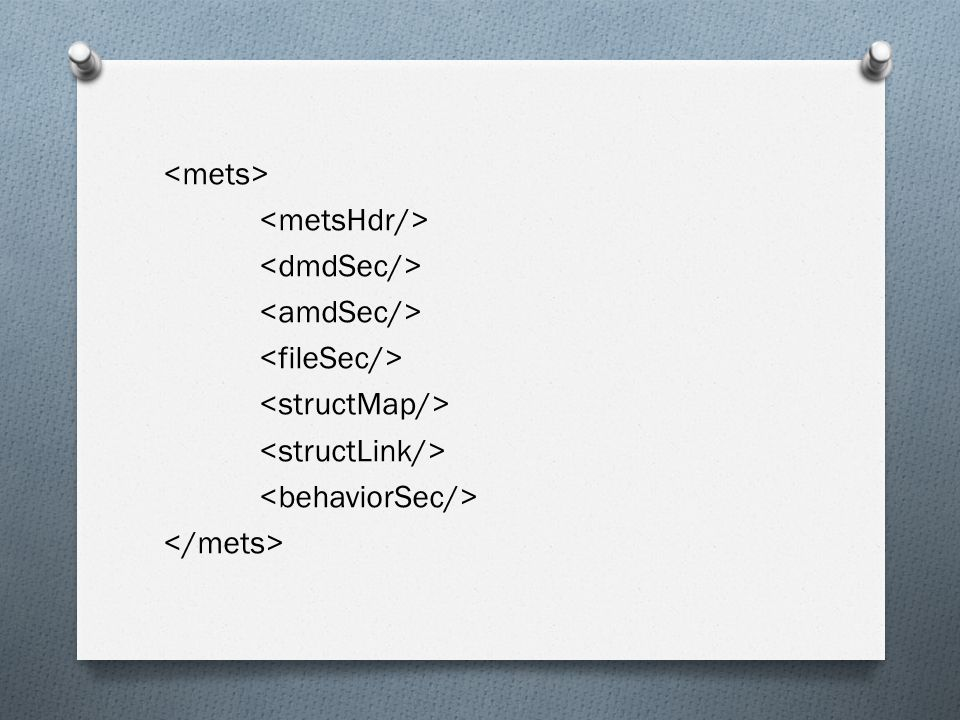 <mets> <metsHdr/> <dmdSec/> <amdSec/> <fileSec/> <structMap/> <structLink/> <behaviorSec/> </mets>