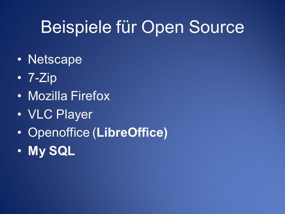Beispiele für Open Source