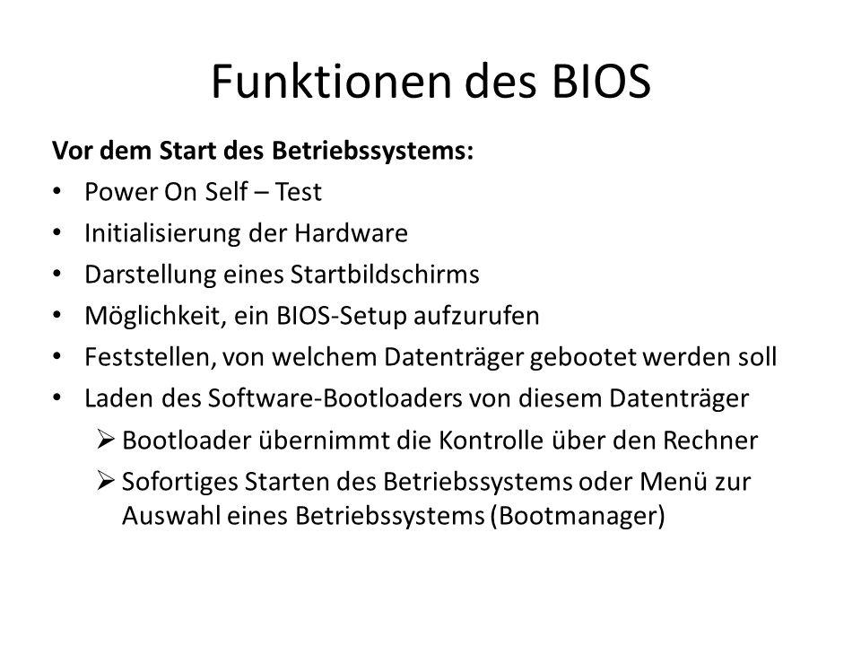 Funktionen des BIOS Vor dem Start des Betriebssystems: