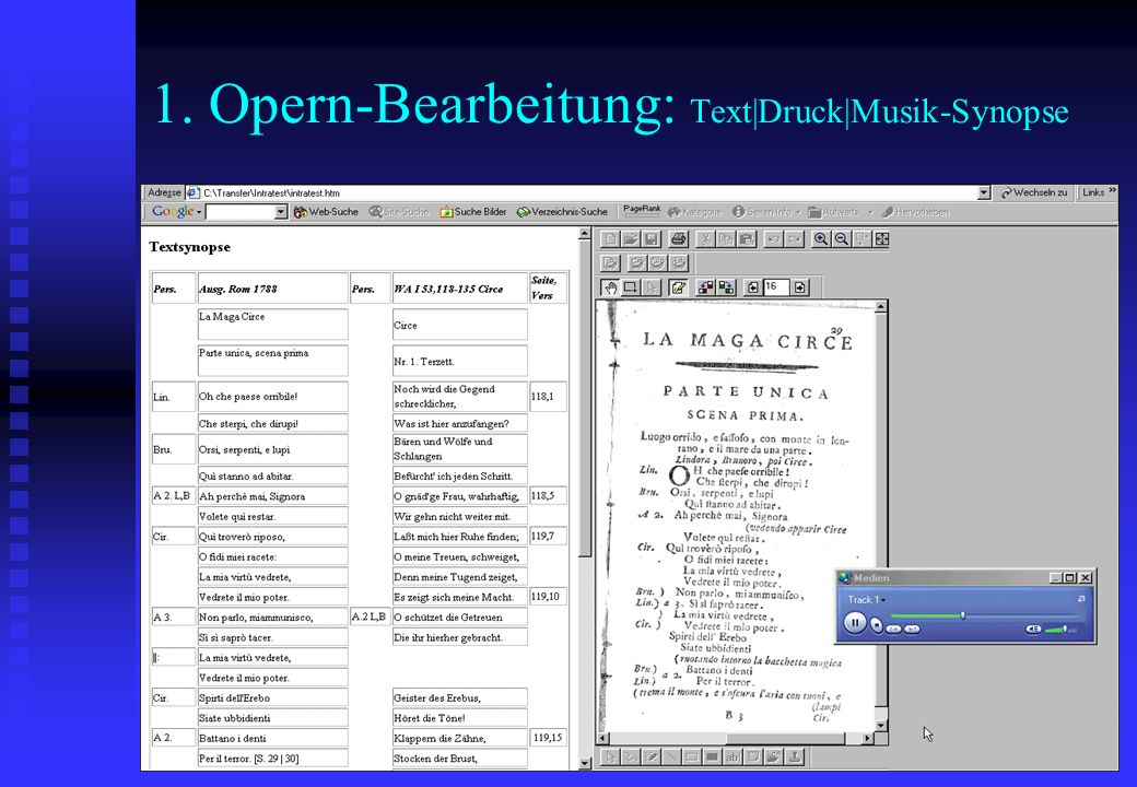 1. Opern-Bearbeitung: Text|Druck|Musik-Synopse
