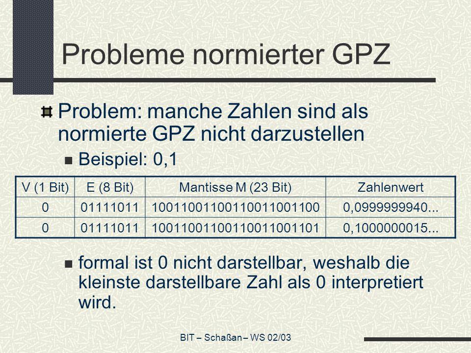 Probleme normierter GPZ