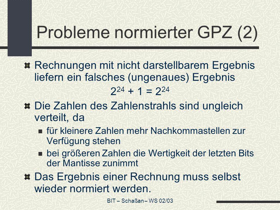 Probleme normierter GPZ (2)