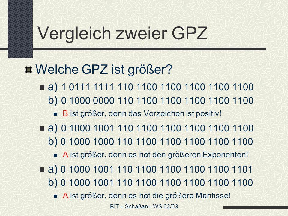 Vergleich zweier GPZ Welche GPZ ist größer