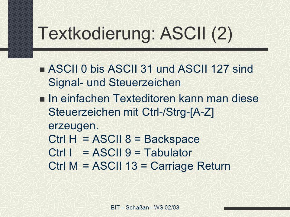 Textkodierung: ASCII (2)