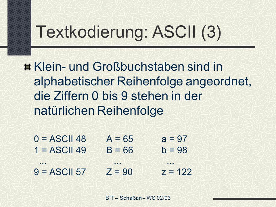 Textkodierung: ASCII (3)