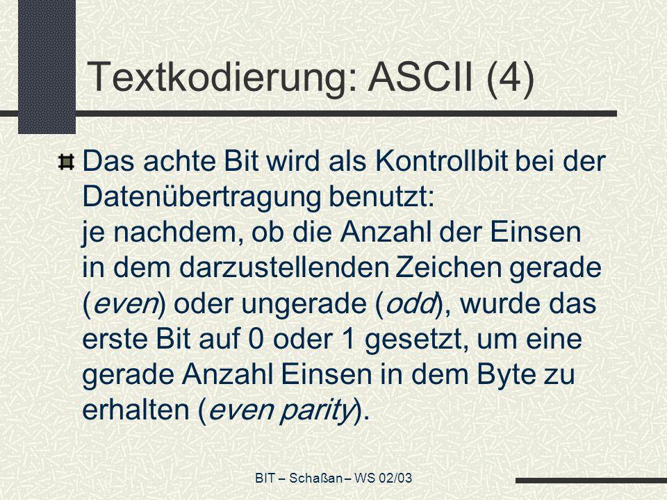 Textkodierung: ASCII (4)