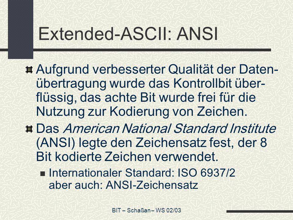 Extended-ASCII: ANSI