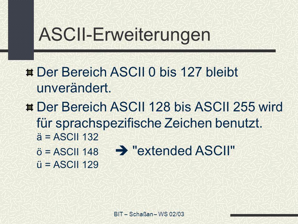 ASCII-Erweiterungen Der Bereich ASCII 0 bis 127 bleibt unverändert.