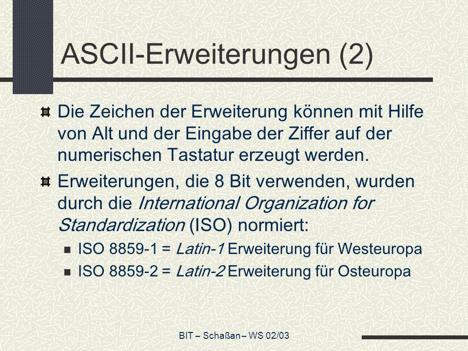 ASCII-Erweiterungen (2)