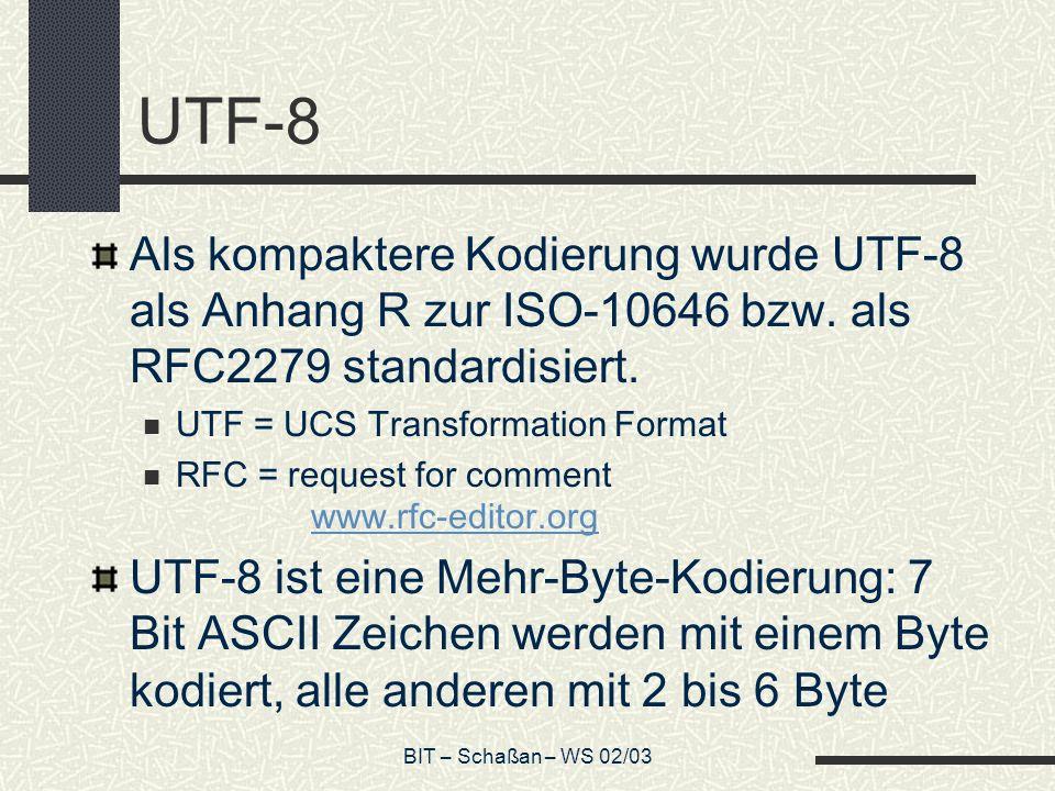 UTF-8 Als kompaktere Kodierung wurde UTF-8 als Anhang R zur ISO-10646 bzw. als RFC2279 standardisiert.