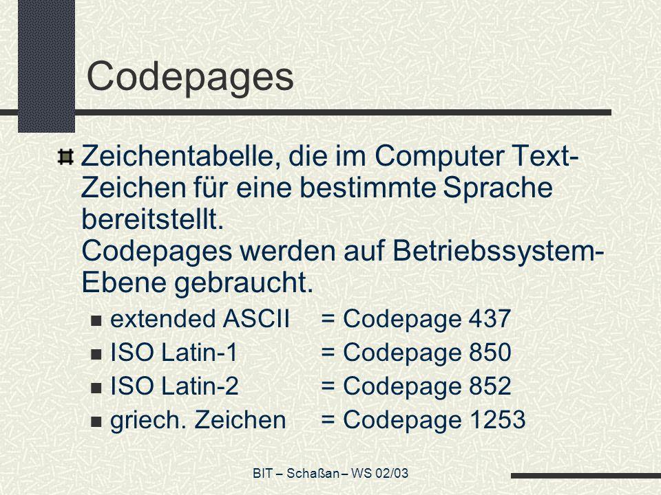 Codepages Zeichentabelle, die im Computer Text-Zeichen für eine bestimmte Sprache bereitstellt. Codepages werden auf Betriebssystem-Ebene gebraucht.