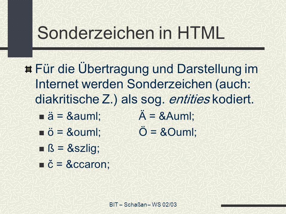 Sonderzeichen in HTML Für die Übertragung und Darstellung im Internet werden Sonderzeichen (auch: diakritische Z.) als sog. entities kodiert.