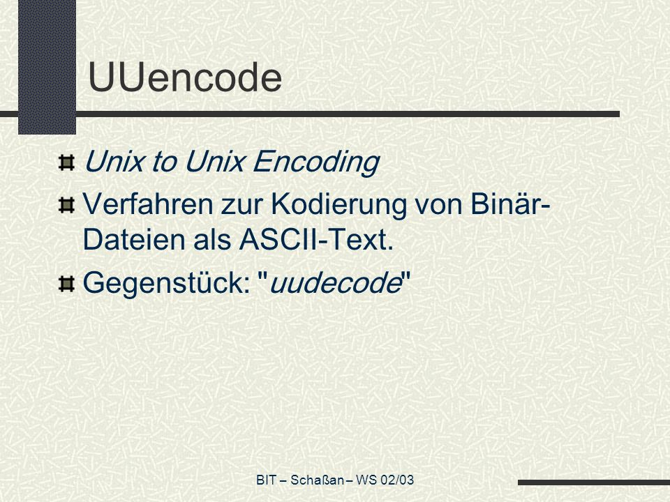 UUencode Unix to Unix Encoding