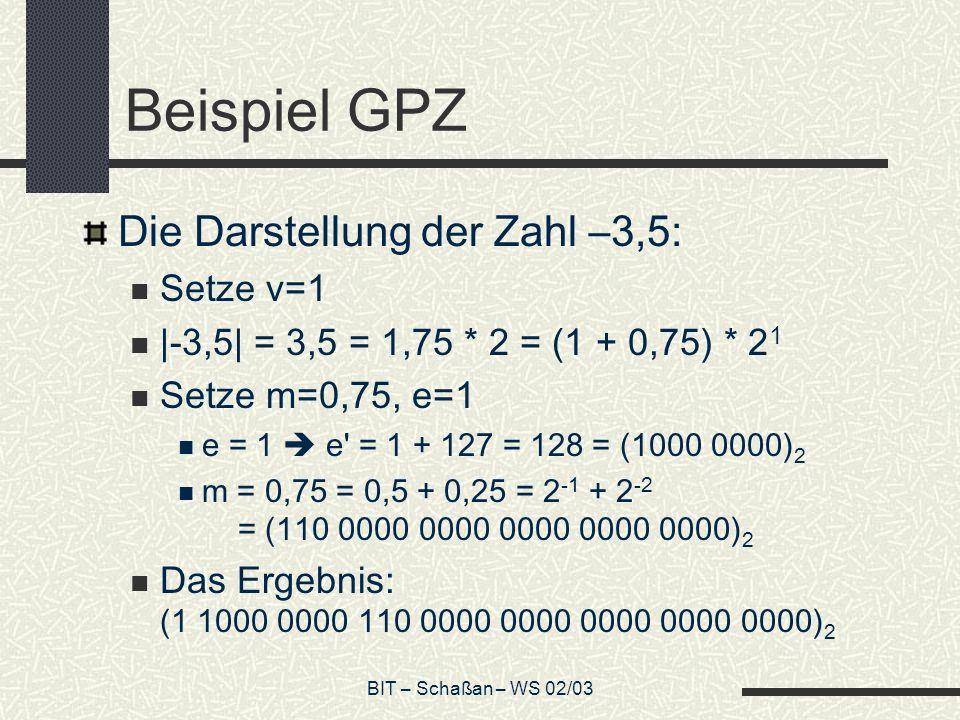 Beispiel GPZ Die Darstellung der Zahl –3,5: Setze v=1