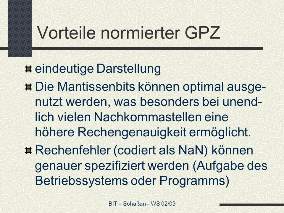 Vorteile normierter GPZ