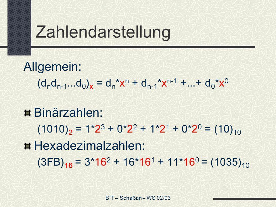 Zahlendarstellung Allgemein: Binärzahlen: Hexadezimalzahlen: