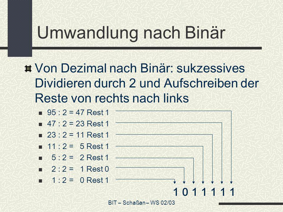 Umwandlung nach Binär Von Dezimal nach Binär: sukzessives Dividieren durch 2 und Aufschreiben der Reste von rechts nach links.
