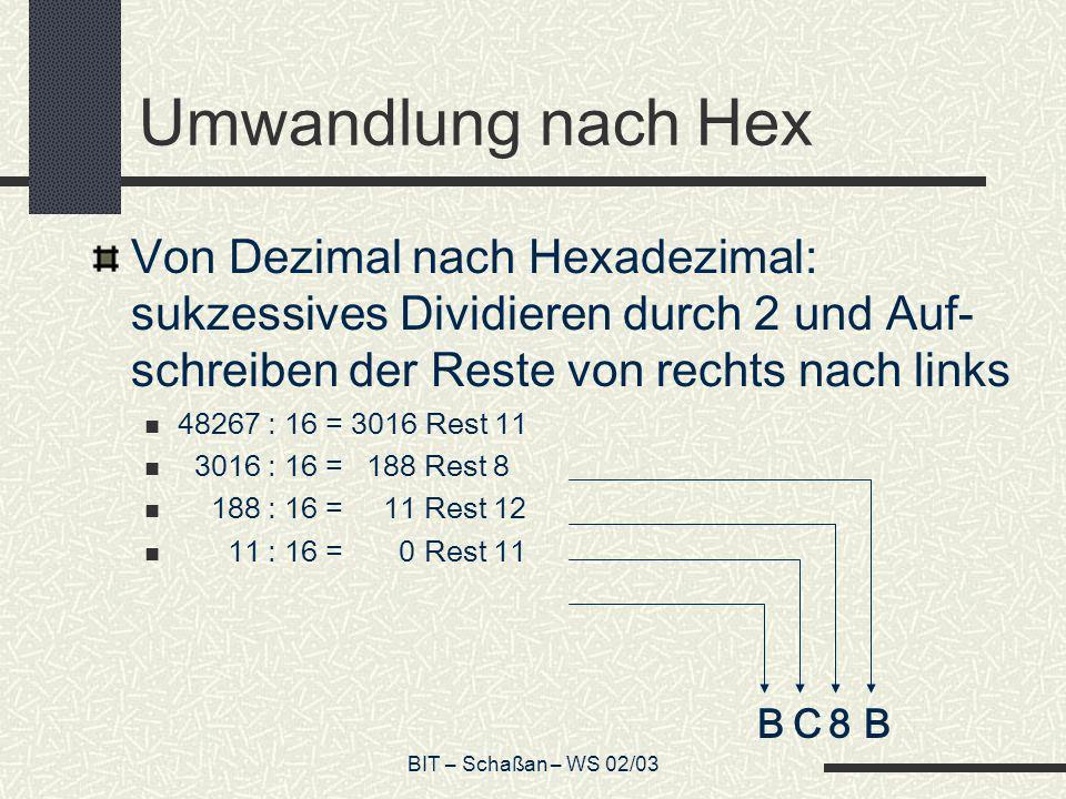 Umwandlung nach Hex Von Dezimal nach Hexadezimal: sukzessives Dividieren durch 2 und Auf-schreiben der Reste von rechts nach links.