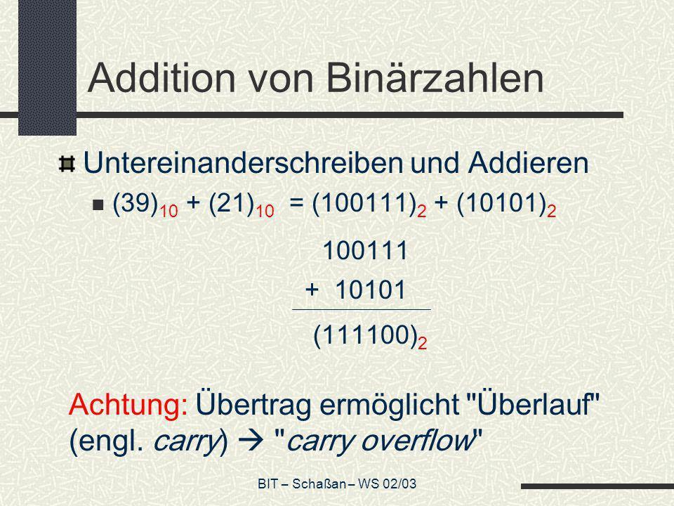 Addition von Binärzahlen