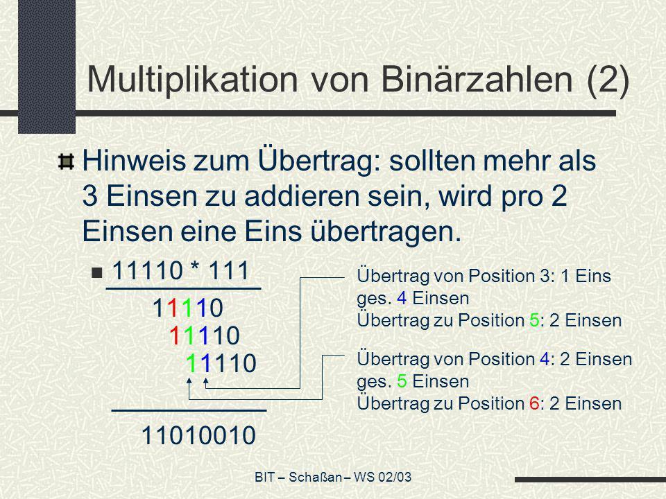 Multiplikation von Binärzahlen (2)