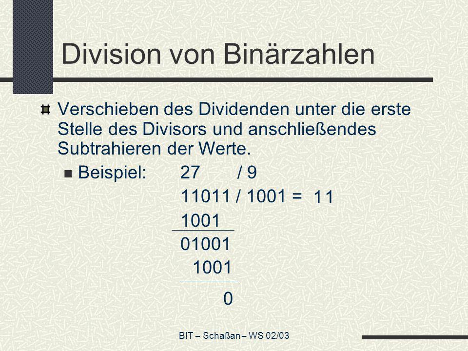 Division von Binärzahlen