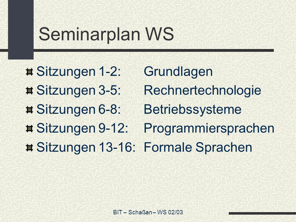 Seminarplan WS Sitzungen 1-2: Grundlagen