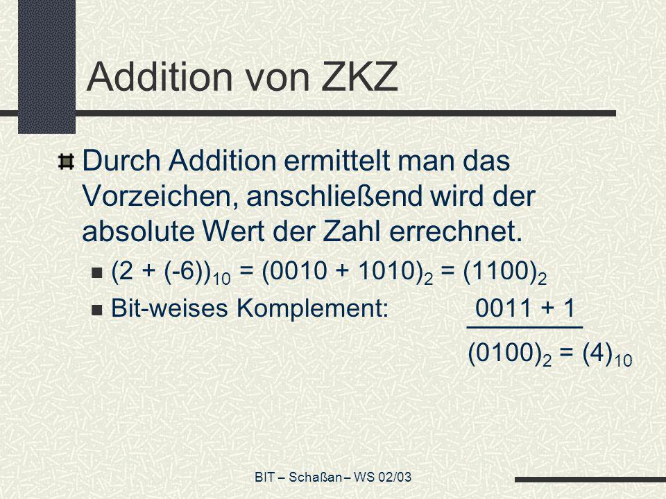 Addition von ZKZ Durch Addition ermittelt man das Vorzeichen, anschließend wird der absolute Wert der Zahl errechnet.