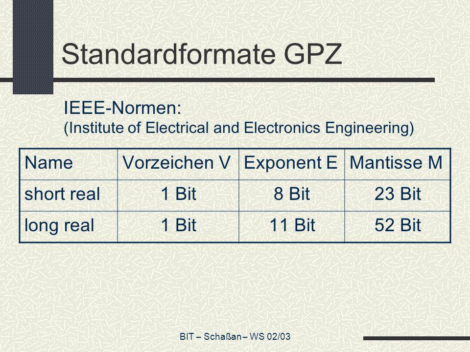 Standardformate GPZ IEEE-Normen: Name Vorzeichen V Exponent E