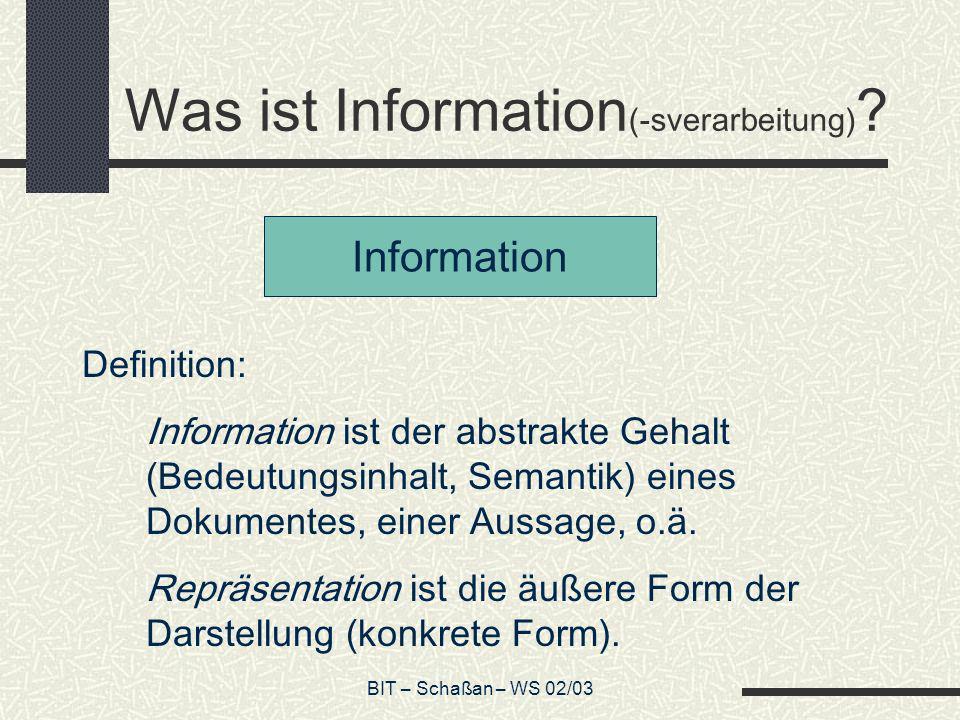 Was ist Information(-sverarbeitung)