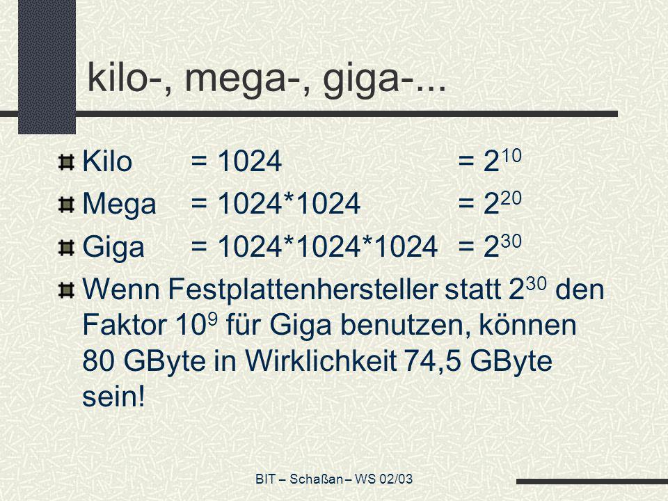 kilo-, mega-, giga-... Kilo = 1024 = 210 Mega = 1024*1024 = 220