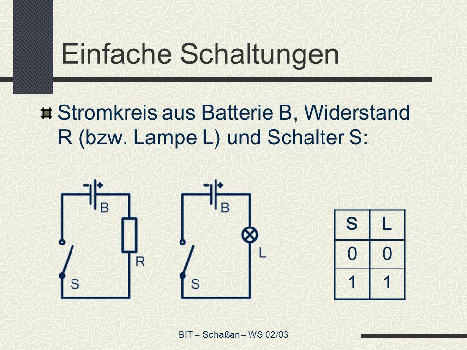 Einfache SchaltungenStromkreis aus Batterie B, Widerstand R (bzw. Lampe L) und Schalter S: S. L. 1.