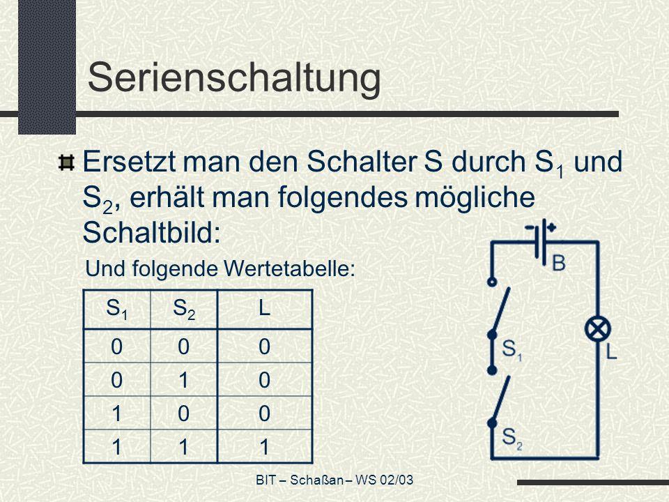 Serienschaltung Ersetzt man den Schalter S durch S1 und S2, erhält man folgendes mögliche Schaltbild: