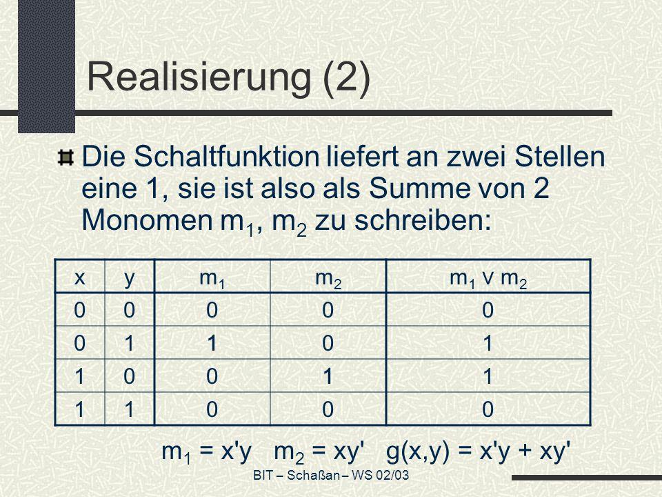 Realisierung (2) Die Schaltfunktion liefert an zwei Stellen eine 1, sie ist also als Summe von 2 Monomen m1, m2 zu schreiben: