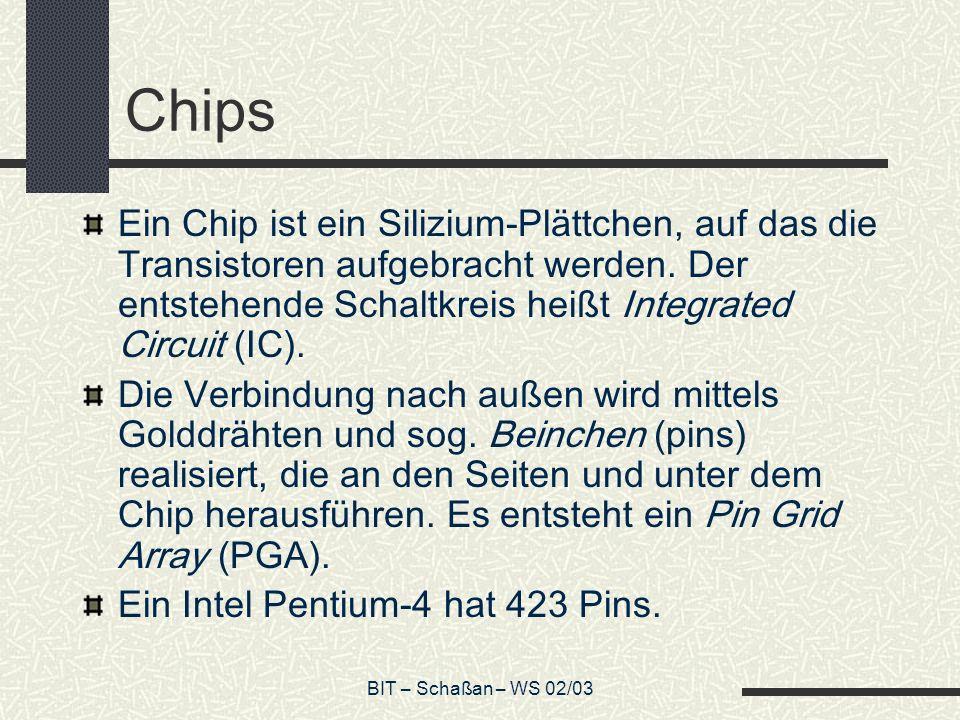 Chips Ein Chip ist ein Silizium-Plättchen, auf das die Transistoren aufgebracht werden. Der entstehende Schaltkreis heißt Integrated Circuit (IC).