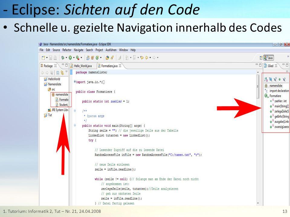 - Eclipse: Sichten auf den Code