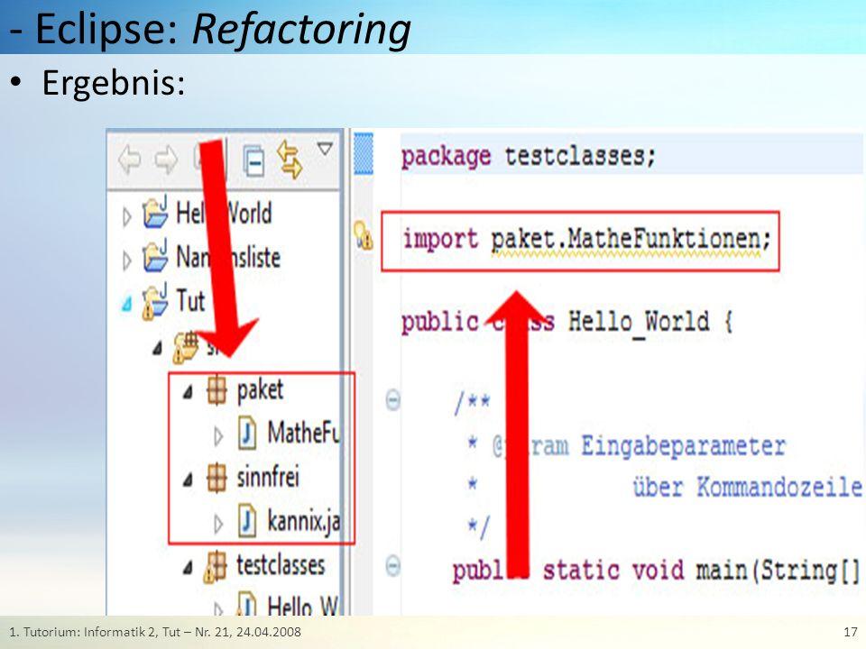 - Eclipse: Debugging Gezielte Fehlermeldungen helfen bei der Fehlersuche.