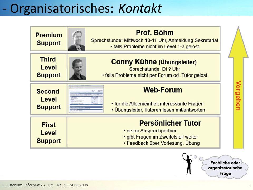 - Organisatorisches: Übungsbetrieb