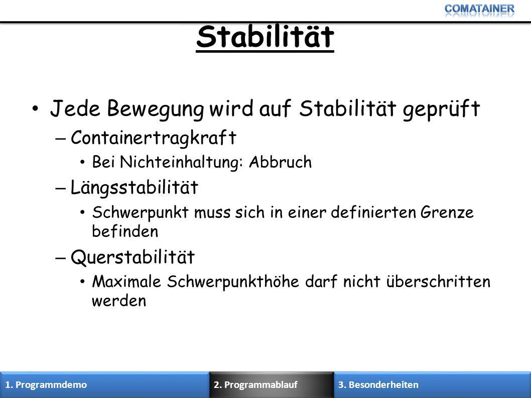Stabilität Jede Bewegung wird auf Stabilität geprüft