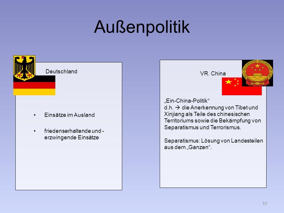 """Außenpolitik Deutschland VR. China """"Ein-China-Politik"""