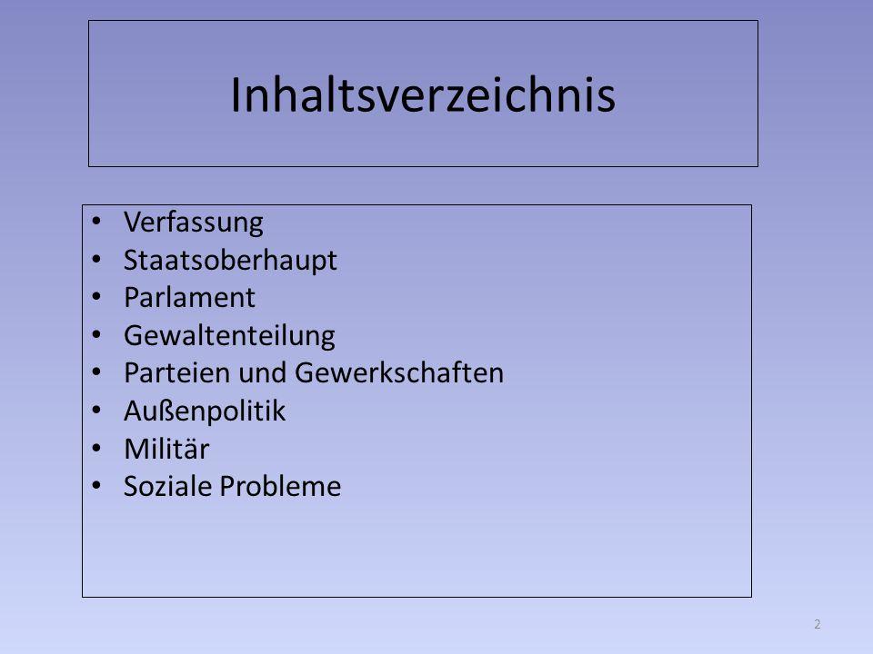 Inhaltsverzeichnis Verfassung Staatsoberhaupt Parlament