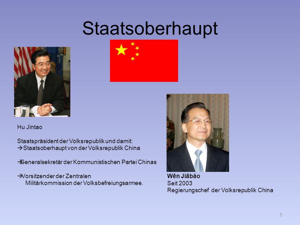 Staatsoberhaupt Hu Jintao Staatspräsident der Volksrepublik und damit: