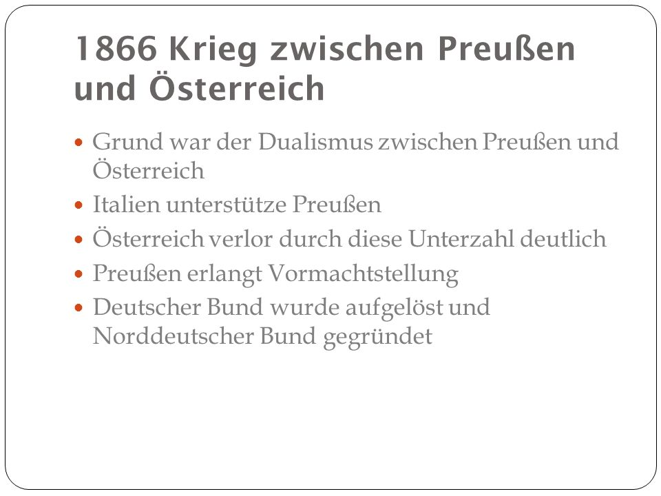 1866 Krieg zwischen Preußen und Österreich