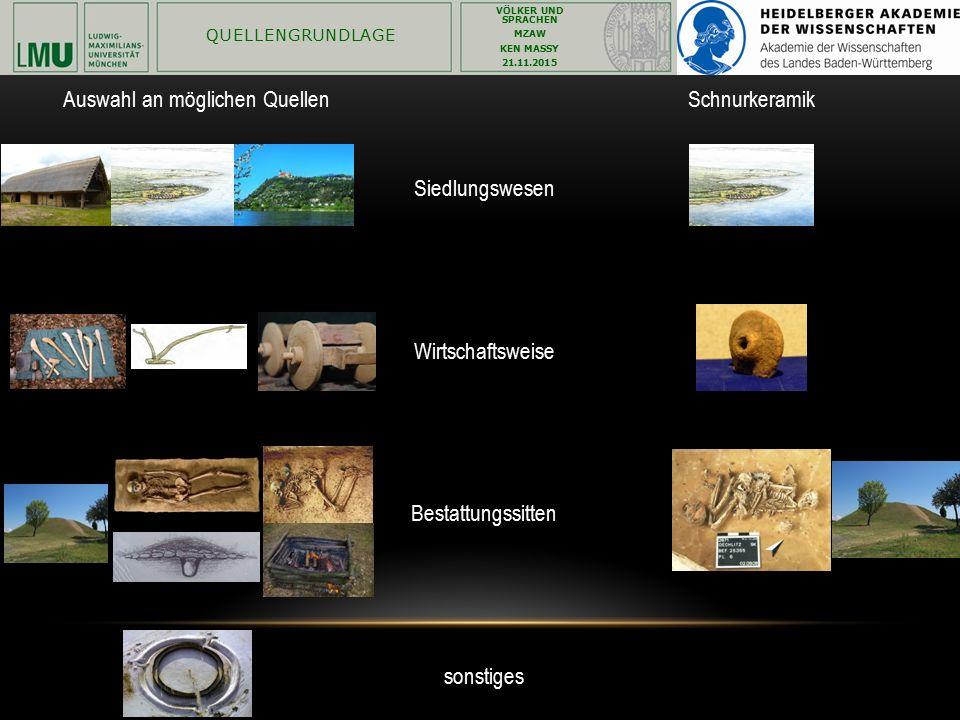Auswahl an möglichen Quellen Schnurkeramik