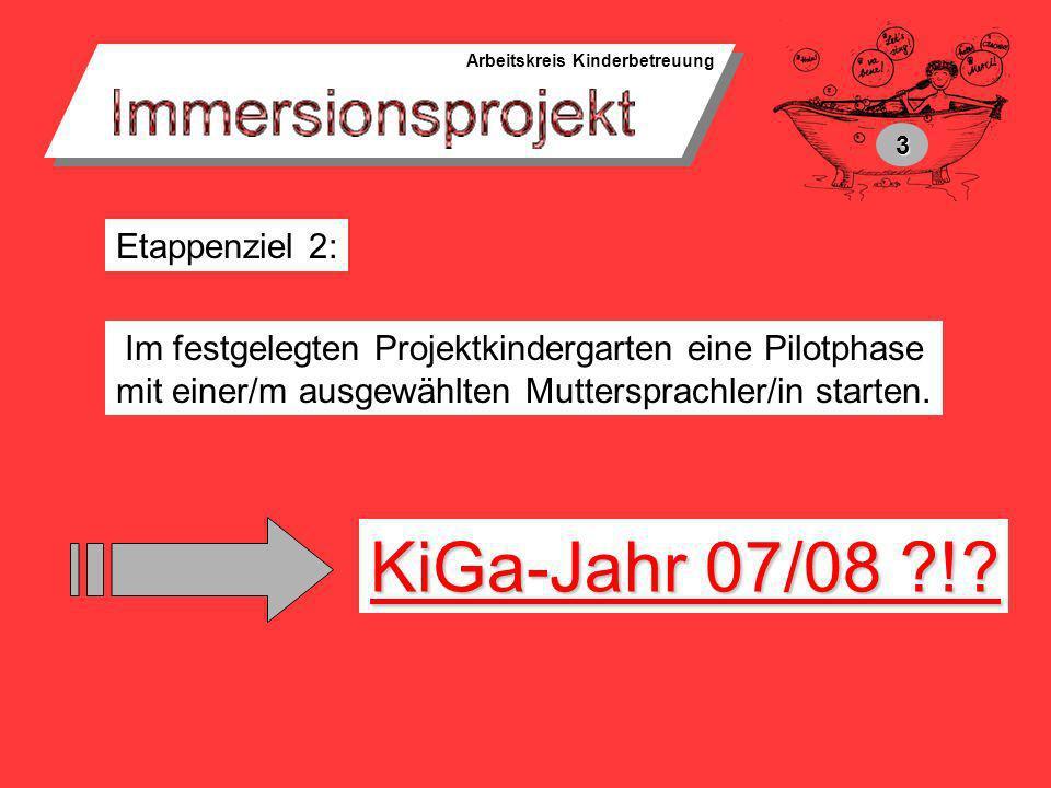KiGa-Jahr 07/08 ! Etappenziel 2: