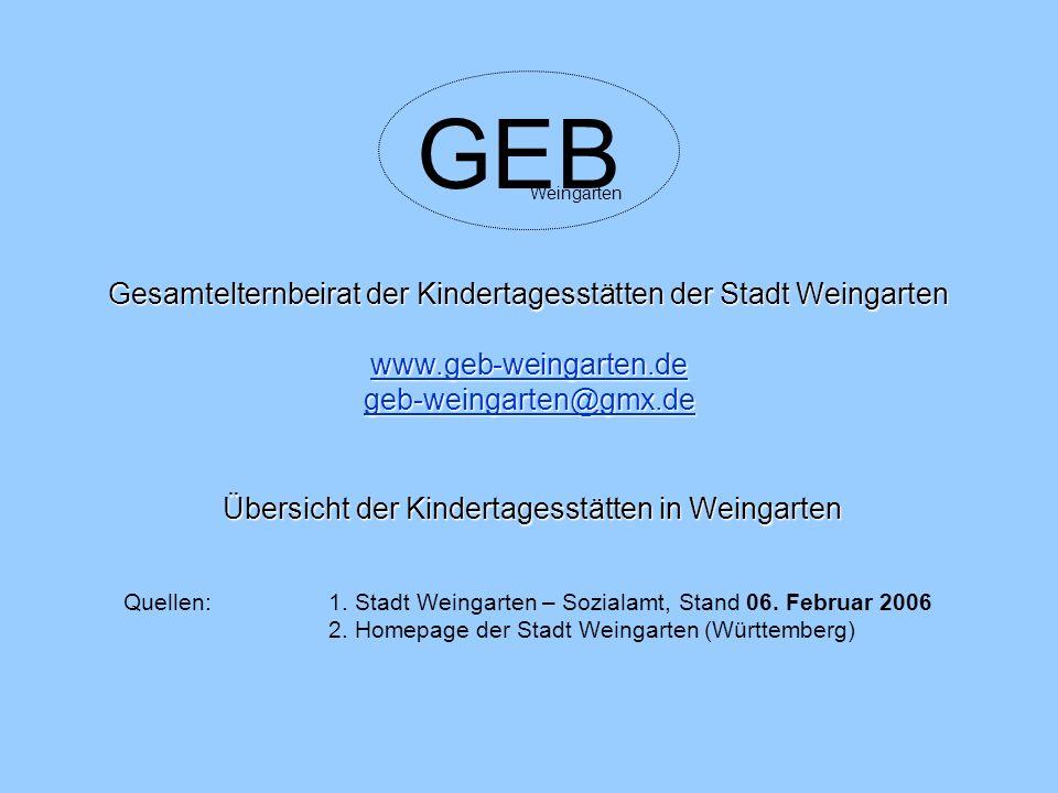 GEB Gesamtelternbeirat der Kindertagesstätten der Stadt Weingarten