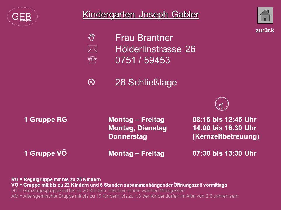  Kindergarten Joseph Gabler GEB  Frau Brantner  Hölderlinstrasse 26