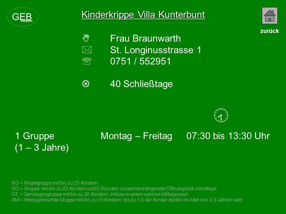  Kinderkrippe Villa Kunterbunt GEB  Frau Braunwarth